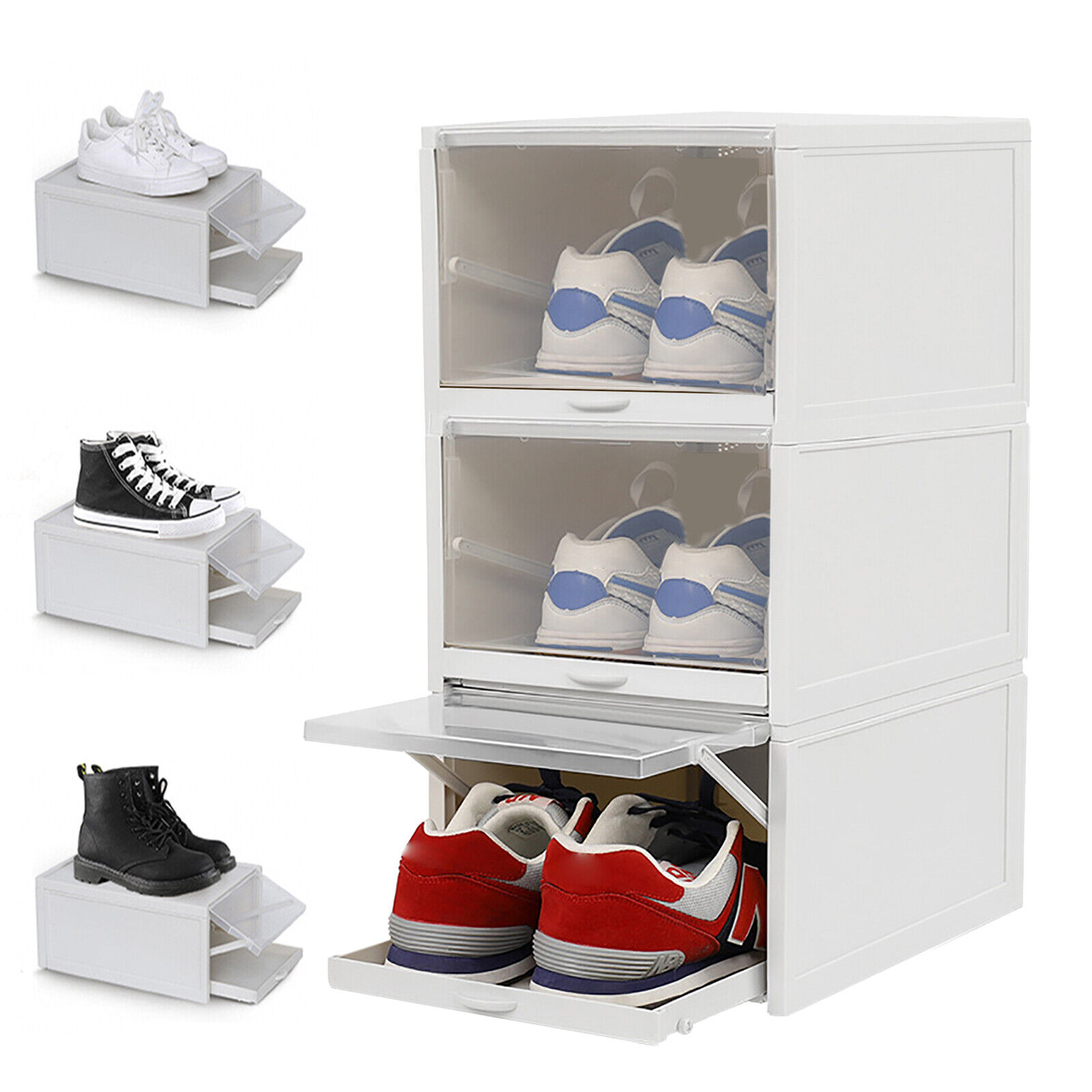 Pull Out Drawer Type Shoes Box Plastic Transparent Stackable Shoe ...
