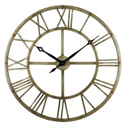 Large Open Wall Clock Big Vintage Rustic Look Antique Metal Farmhouse Industrial