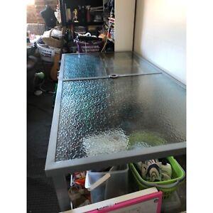 Outside glass table