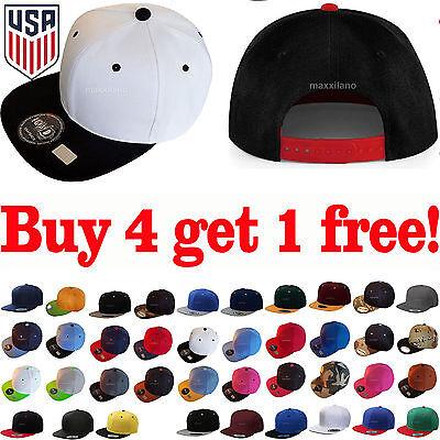 Flat Bill Baseball - Baseball Cap Cool Two Tone Snapback Adjustable One Size Hat New Flat Bill Blank