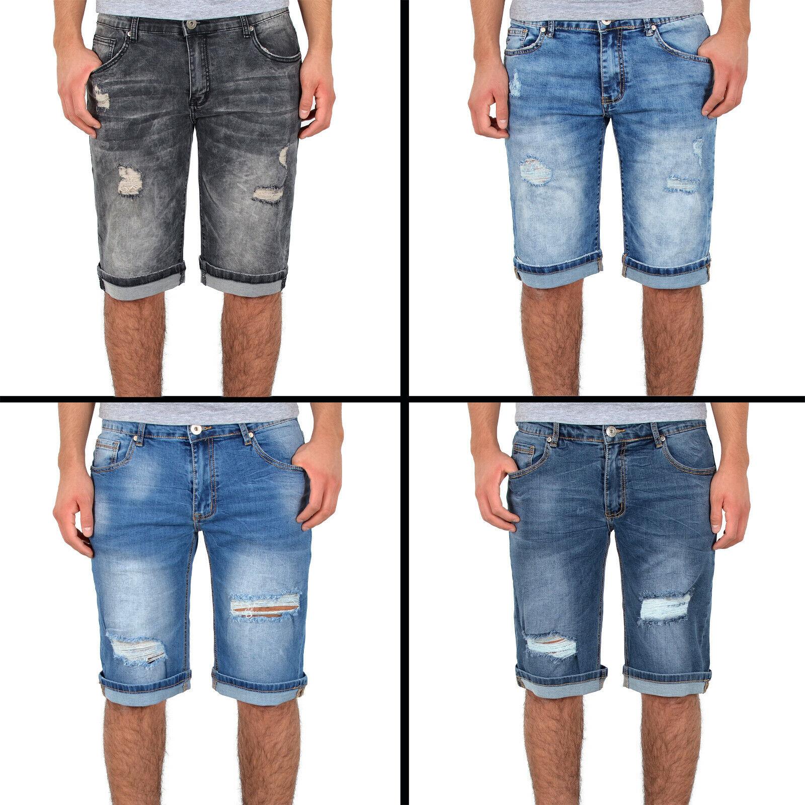 Damen Caprijeans 3//4 Hüfthose Capri Hose Used Destroyed Risse Loch Bermuda Jeans