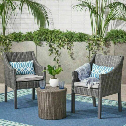 Sims Outdoor 3 Piece Wicker Chat Set, Grey with Silver Cushions Home & Garden