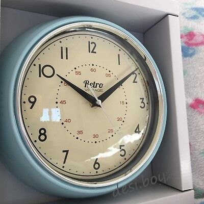 - Retro Vintage Diner Round American Kitchen Wall Clock Red Black Cream Blue