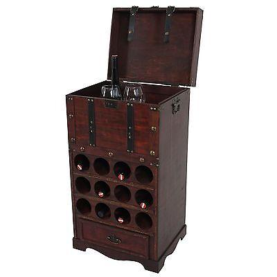 Weinregal Calvados T251, Holzregal für 12 Flaschen Kolonialstil 85,5x46x37cm