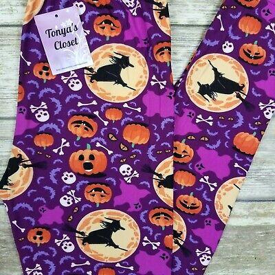 Flying Witch Leggings Halloween Pumpkins Buttery Soft ONE SIZE OS](Pumpkins Halloween Witch)