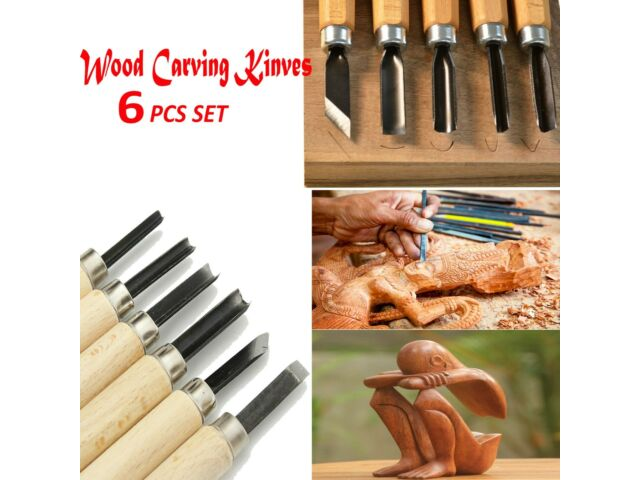 6 Pcs Wood Carving Knife Kit Woodworking Whittling Cutter Chip Hand Tool Cut HQ