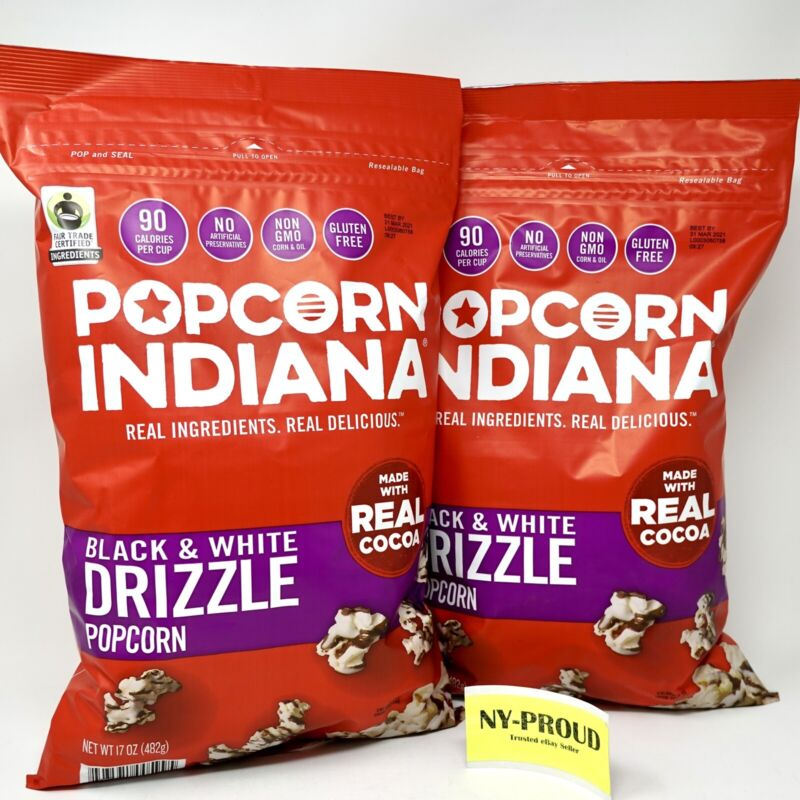 2 Giant Packs - Black& White Chocolate Drizzle Popcorn Indiana With Real Cocoa😋