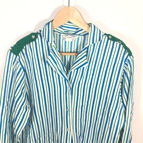 Girl Scouts Bill Blass Blouse Top Adult Womens Uniform Blue Stripe Vintage 80s