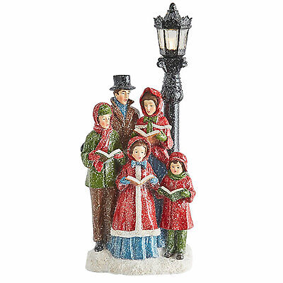 "15.75"" Lighted Snowy Retro Vtg Style Christmas Carolers Lamp Post Figurine Decor"