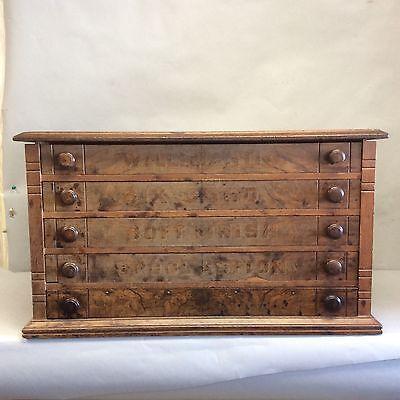 Five Drawer Walnut Spool Cabinet w/Burled Front