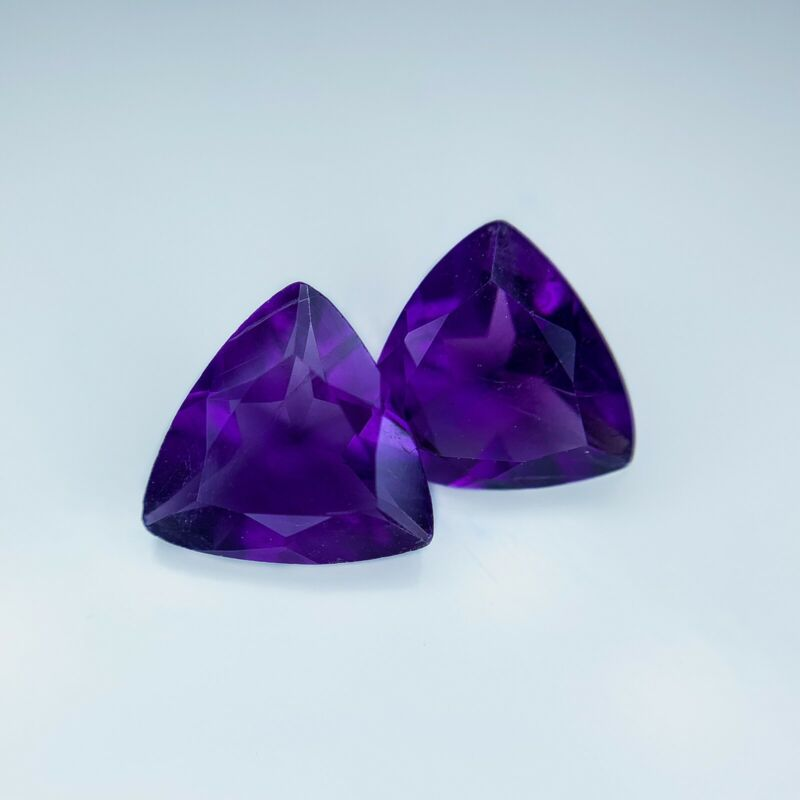 3.7TCW Paired Amethyst (untreated) Natural Russian Trillian Cut Gemstone