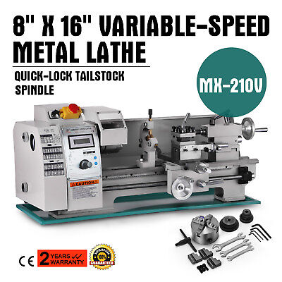 8x16 Mini Metal Lathe Variable-speed 50-2500rpm 750w Bench Top Digital Display