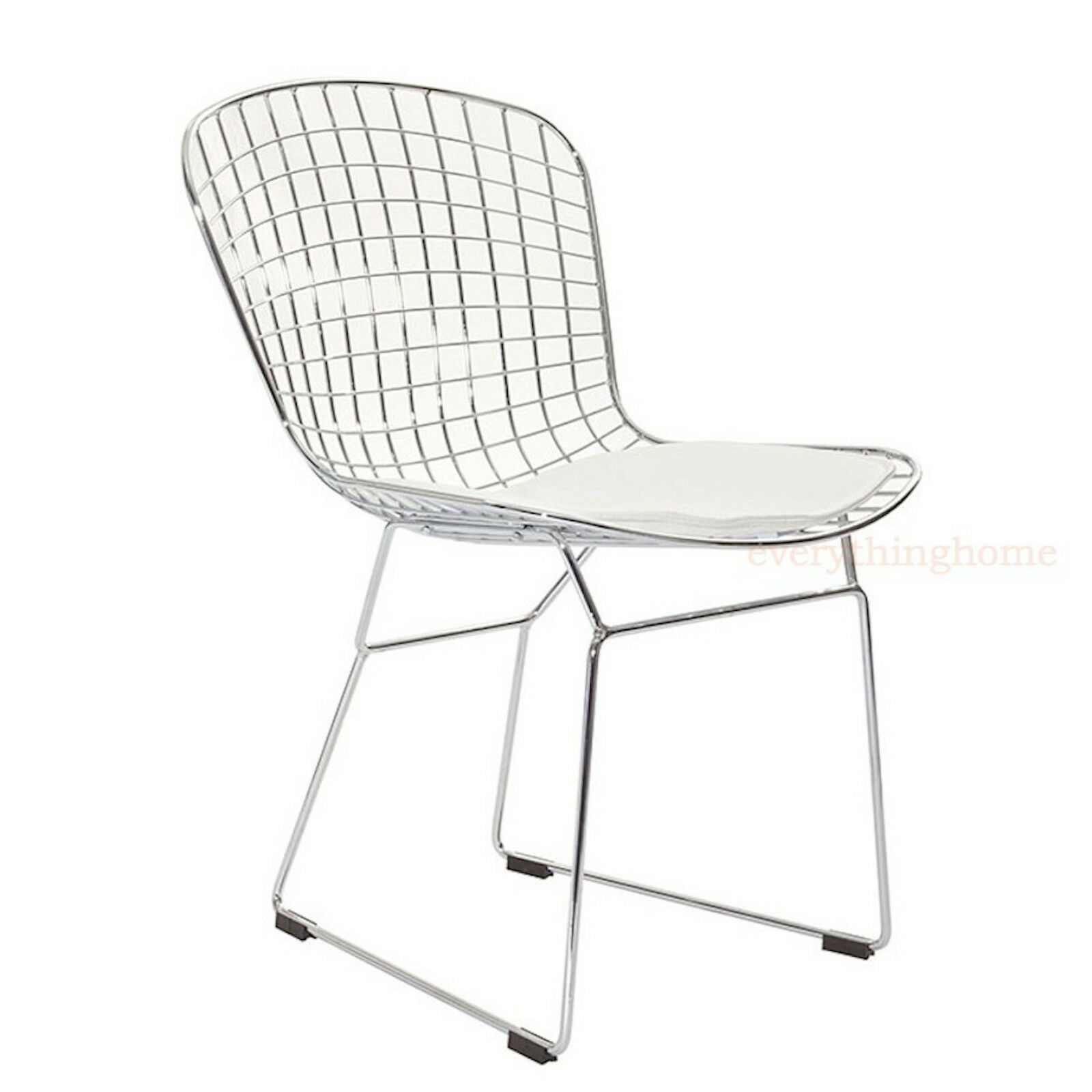 bertoia style chair dining side steel wire chrome mesh white pad 331 lb wt rate