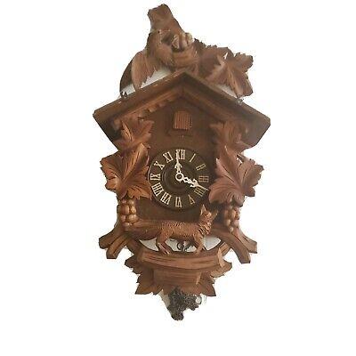 Vintage Antique German Regula Cuckoo Wall Clock Black Forest Carved Untested