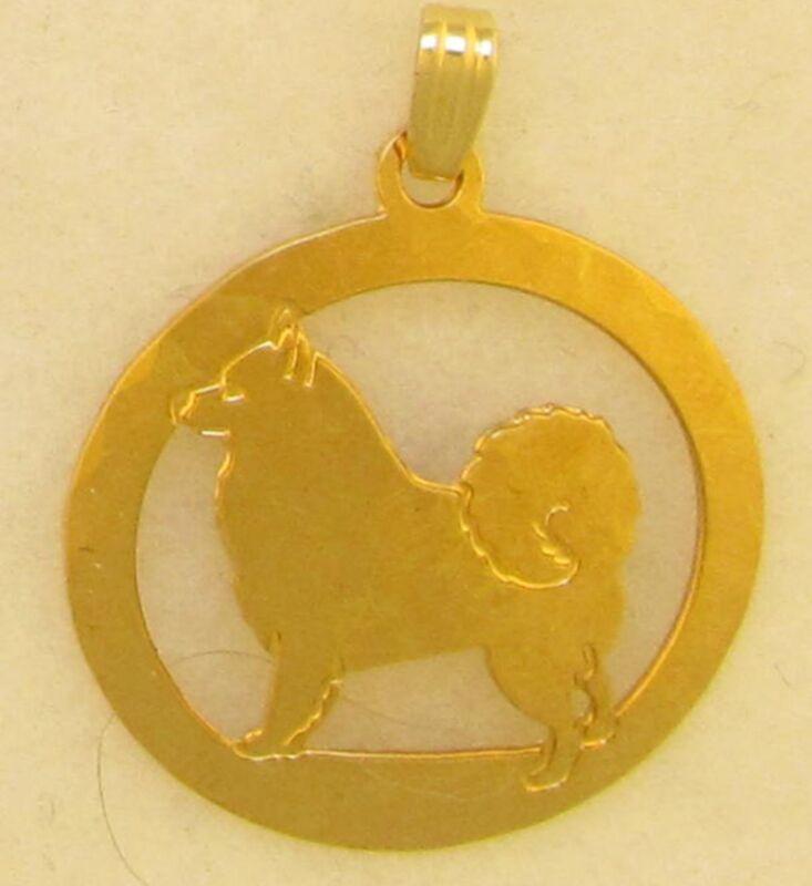 American Eskimo Jewelry Gold Pendant by Touchstone Dog Designs