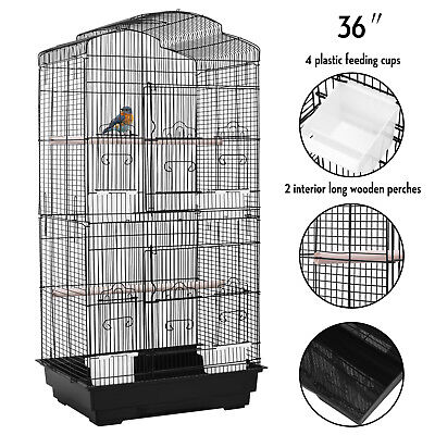 36'' Large Bird Cage Playtop Pet Supplies House W/Perch Stand & 4 Cup Feeders