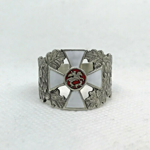 Russian Imperial 88 Silver Enamel Ring St.George Cross by August Holming