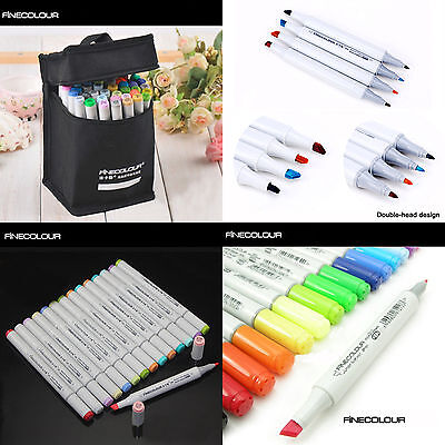 FINECOLOUR EF101 24//36//48//60//72//112 Colors Art Drawing Sketch Marker Pens/&Bag