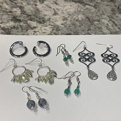 Zephyrr Silver Plated Earrings Filigree Work Pink Crystal Circular Dangle /& Drop