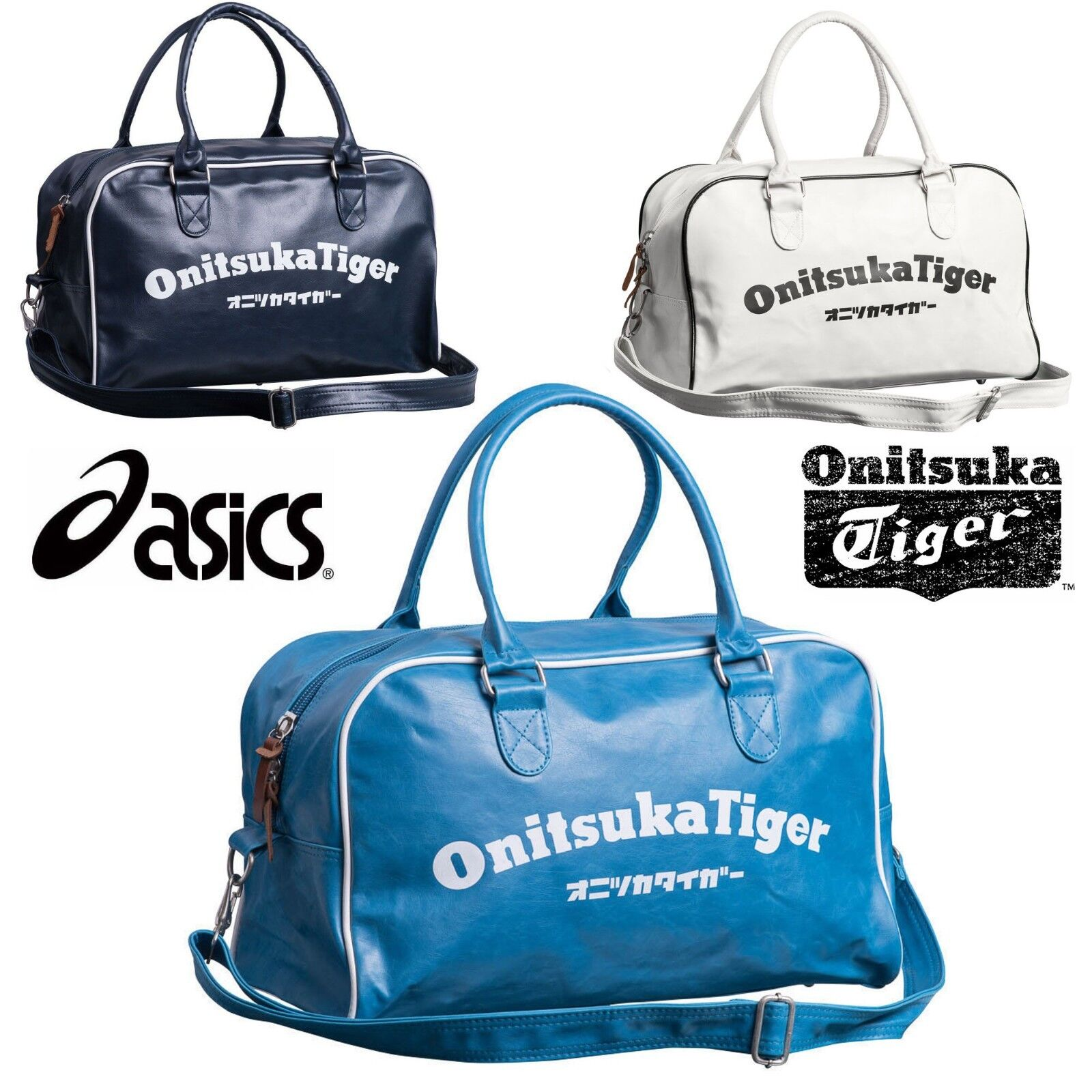 24bc369d95b6 Details about Asics Onitsuka Tiger Sports Retro Duffle Bags Blue White Navy  Gym Holdalls