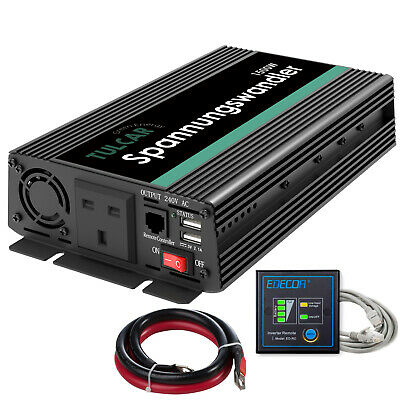 TULCAR Power Inverter 1500W 3000W 12V 240V  UK Sockets 2 USB Ports and Remote for sale  United Kingdom