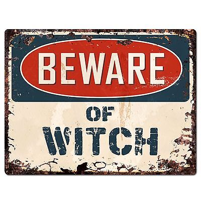 PP1904 Beware of WITCH Plate Chic Sign Home Store Halloween