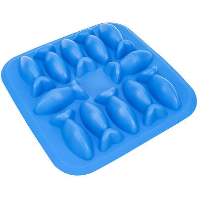 Fish Shapes Flexible 12 Ice Cube Tray Mold Goldfish Blue Funny Novelty Gag Gift Bar Tools & Accessories