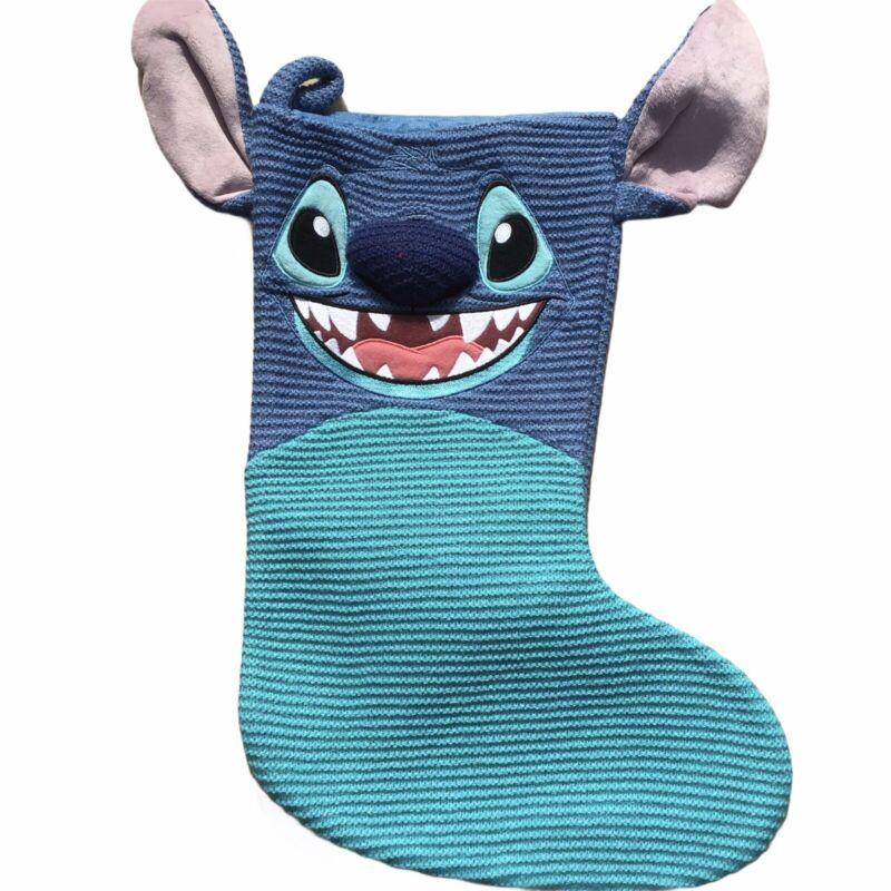 Disney Parks Stitch  Knit Christmas Holiday Stocking NEW