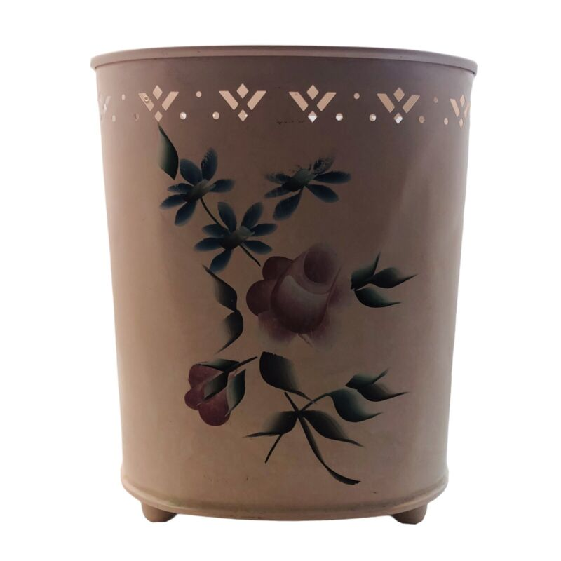 Vintage Detecto Tole Painted Waste Basket Trash Can Shabby Pink Rose Half Moon