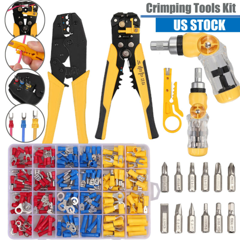 Crimping Tool Kit Wire Stripper Crimper Screwdriver + Wire Terminals + Cable Tie