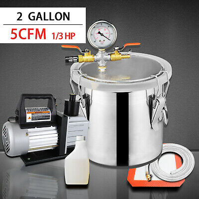 2gallon Vacuum Chamber 5cfm Single Stage Pump Degassing Silicone Kit Silver