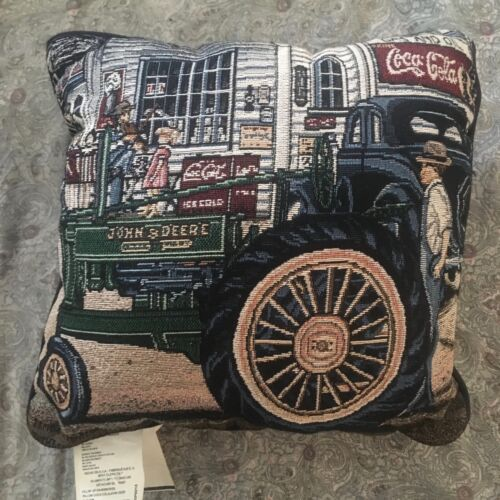 Coca Cola / John Deere Americana Tapestry Throw Pillow 14 inch Preowned