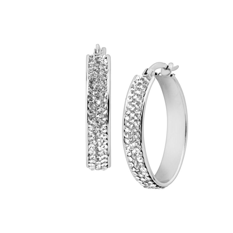 Crystaluxe Oval Hoop Earrings with Crystals in Sterling Silver