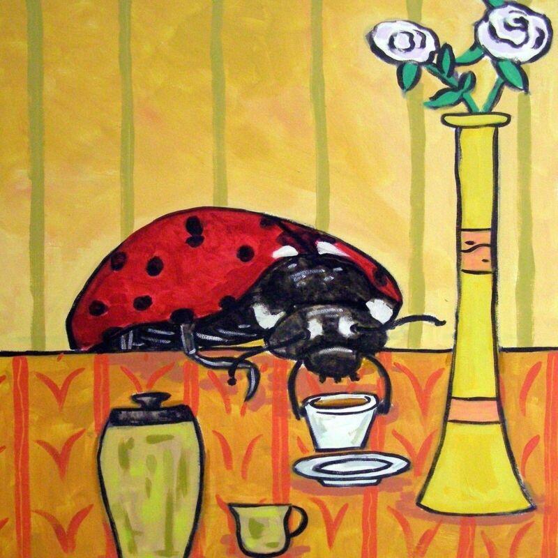lady bug coffee cafe ladybug insect art tile coaster gift