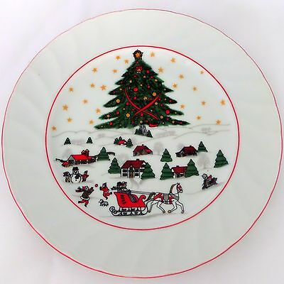 Christmas Pleasure By Kopin Salad Plate Scalloped Red Trim Snow Village Scene