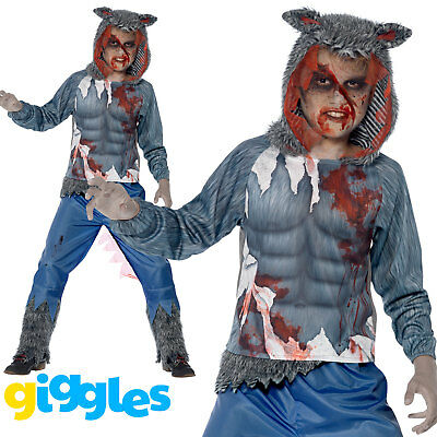 Boys Wolf Warrior Costume Scary Big Bad Evil Halloween Fancy Dress - Wolf Warrior Kostüm