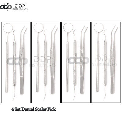 German Dental Scaler Pick Stainless Steel Tools With Inspection Mirror 4 Set