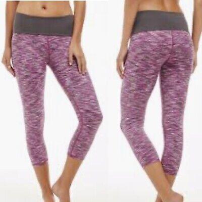 Fabletics Salar Powerhold Purple Printed Leggings Womens Sz XXS Yoga Workout Gym