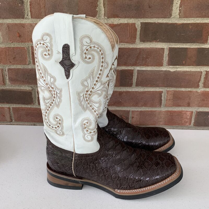 Ferrini cowboy western boots white brown color block Men's Size US 10.5 EE Wide