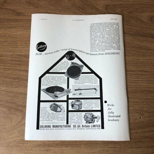 "(STG)Mar1962 Sup.18 Advert11x8"" Goldring Manufacturing, Transcription Equipment"