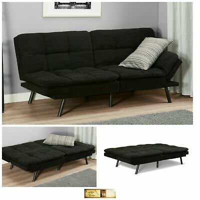 Sleeper Sofa Bed Black Suede Convertible Couch Modern Living Room Futon Loveseat for sale  USA