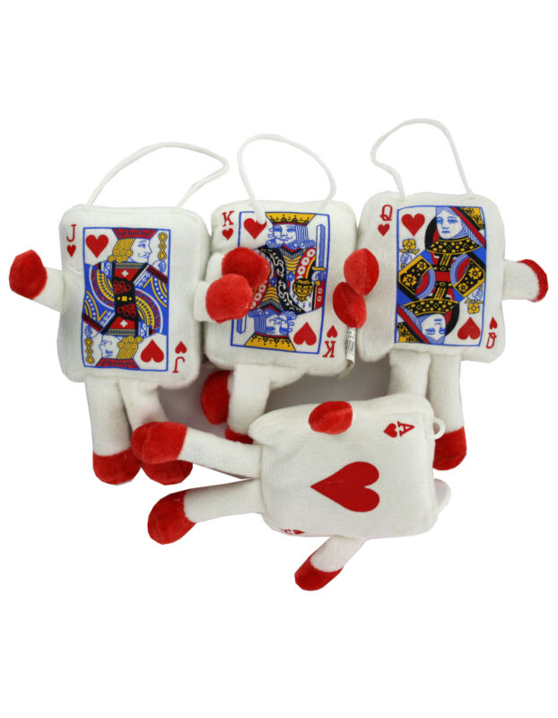 4 Lot Plush playing card figures Jack, Queen, King & Ace  Las Vegas Night Party