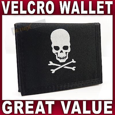 Mens Boys Trifold WALLET Skull & Crossbones Pirate themed Velcro closure sports