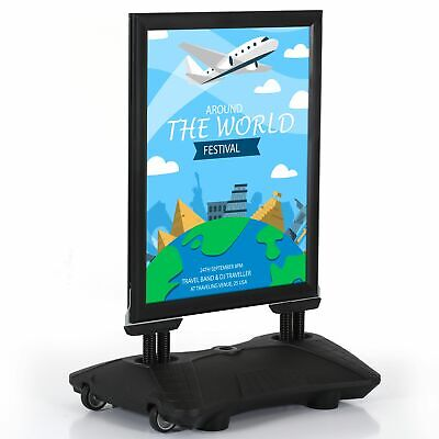 Weather Wind Resistant Outdoor Pavement Sidewalk Double Sided Sign Holder Black