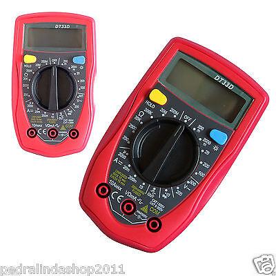 PDR*TESTER TENSIONE MULTIMETRO DIGITALE DT33D DISPLAY LCD E PUNTALI VOLT AMPERE