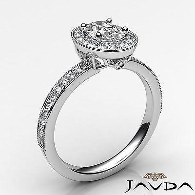 Bezel Set Milgrain Edge Halo Oval Diamond Engagement GIA F VS1 Clarity Ring 1Ct 1