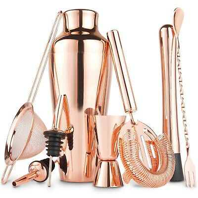Beautify Copper Cocktail Making Set, 11 Piece Parisian Shaker Set Gift Rose Gold