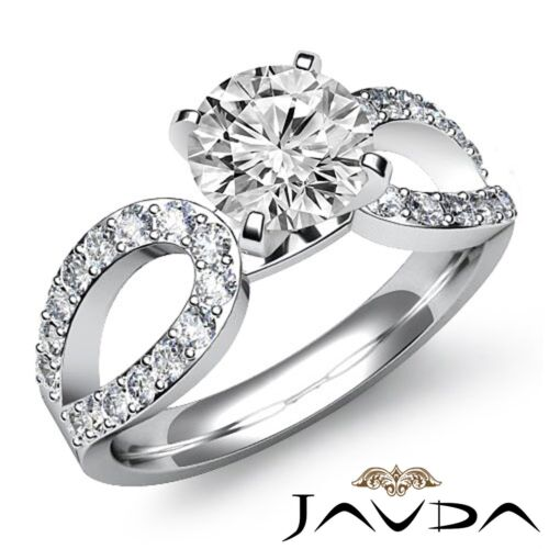 1.95ct Round Diamond Solitaire Style Engagement Ring GIA F VS2 14k White Gold