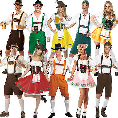 Mens German Bavarian Oktoberfest Ladies Beer Maid Fancy Dress Costume Lederhosen - Ladies Lederhosen Costume