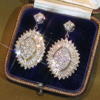 7.30cts Huge Sparkling Baguette  Earring Solid 14kt Vintage Antique White Gold